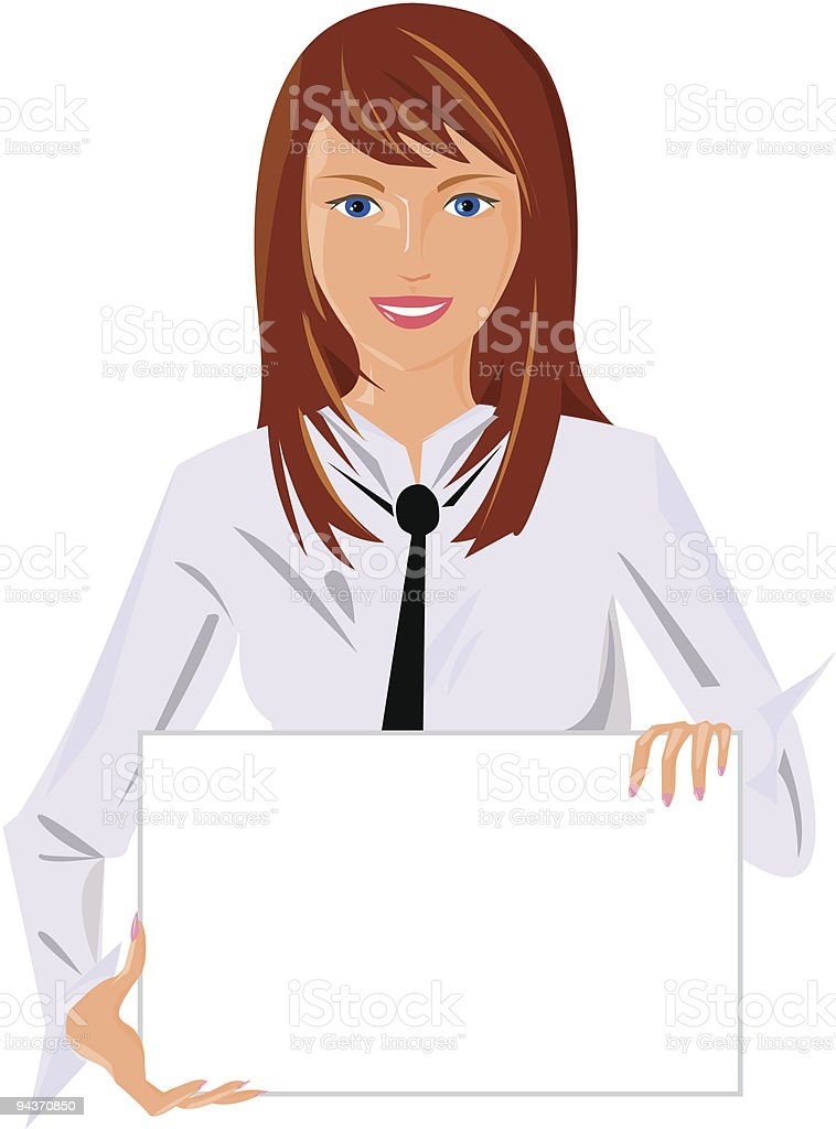 ofice girl holding blank poster royalty-free stock vector art