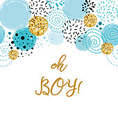 Phrase Oh boy cute baby shower border decorated blue gold glitter round elements Birthday invitation. Vector illustration. Black blue golden male design for cards banners label background print logo.