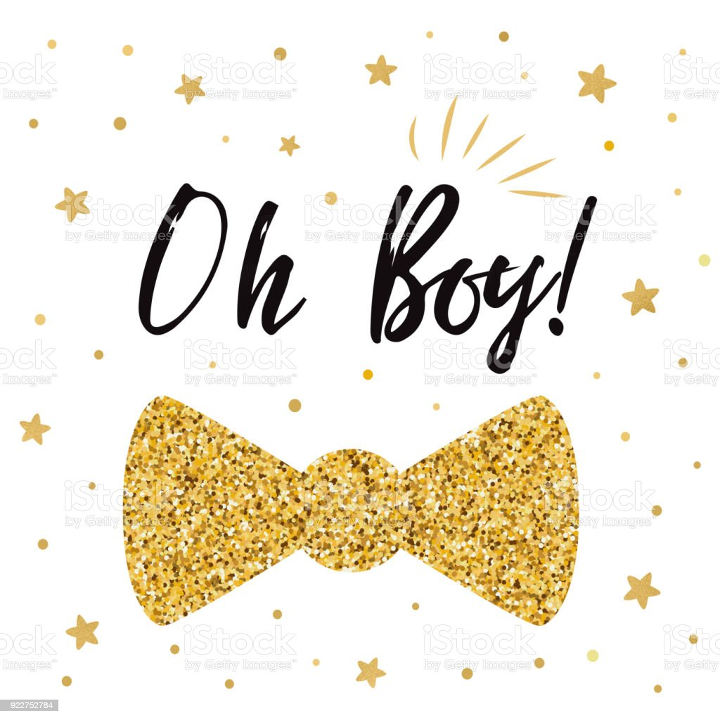 Oh Boy Cute Baby Shower With Gold Stars Bow Tie Butterfly Boy ...