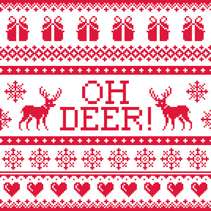 Oh deer red pattern, Christmas seamless design, winter background