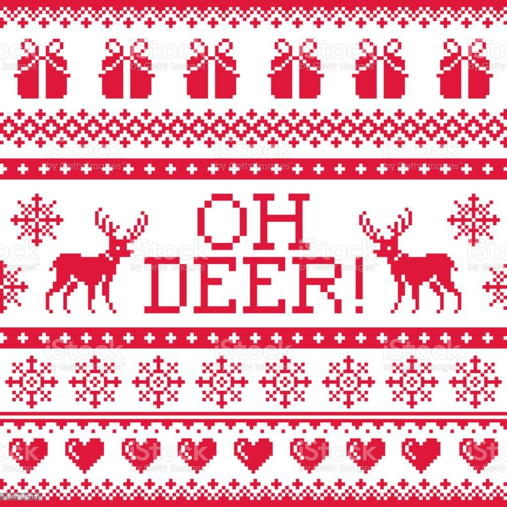 Oh deer red pattern, Christmas seamless design, winter background vector art illustration