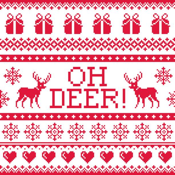 oh deer red pattern, christmas seamless design, winter background - winter fashion stock illustrations, clip art, cartoons, & icons