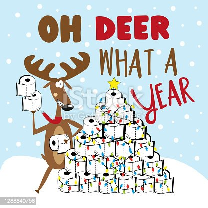 istock Oh Deer What A Year- funny greeting with reindeer and toilet paper christmas tree 1288840756