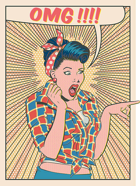oh my god OMG Retro woman saying OMG in old cartoon style good news stock illustrations