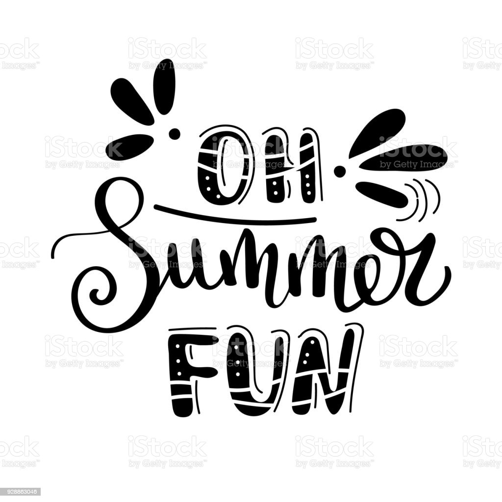 Oh Summer Fan Summer Quote Handwritten For Holiday Greeting Cards