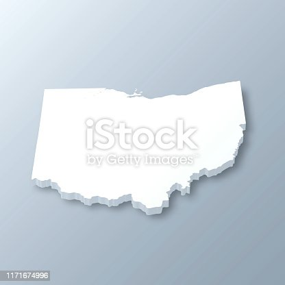 3D map of Ohio isolated on a blank and gray background, with a dropshadow. Vector Illustration (EPS10, well layered and grouped). Easy to edit, manipulate, resize or colorize.