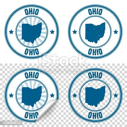 Map of Ohio on a blue sticker and a blue rubber stamp. They are composed of the map in the middle with the names around, separated by stars. The stamp at the top right is created in a vintage style, a grunge texture is added to create a vintage and realistic effect. Vector Illustration (EPS10, well layered and grouped). Easy to edit, manipulate, resize or colorize. Please do not hesitate to contact me if you have any questions, or need to customise the illustration. http://www.istockphoto.com/portfolio/bgblue