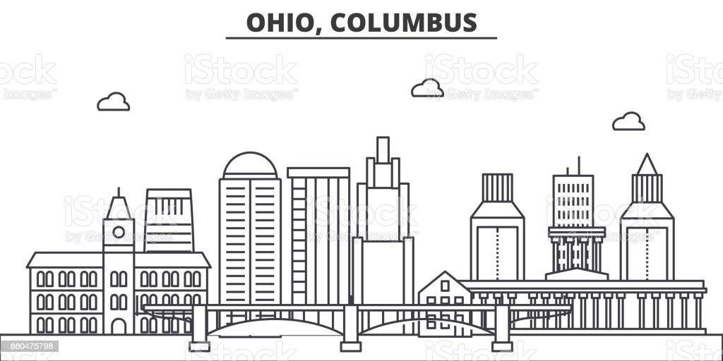 Ohio Columbus Architecture Line Skyline Illustration Linear