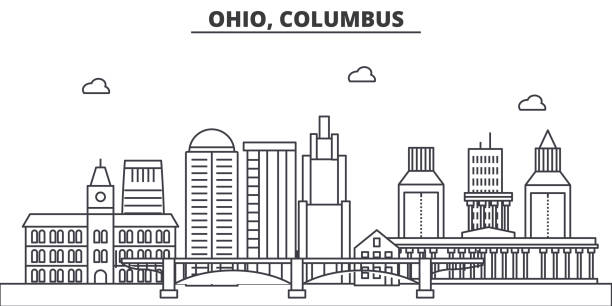 Ohio, Columbus architecture line skyline illustration. Linear vector cityscape with famous landmarks, city sights, design icons. Landscape wtih editable strokes Ohio, Columbus architecture line skyline illustration. Linear vector cityscape with famous landmarks, city sights, design icons. Editable strokes waterfront stock illustrations