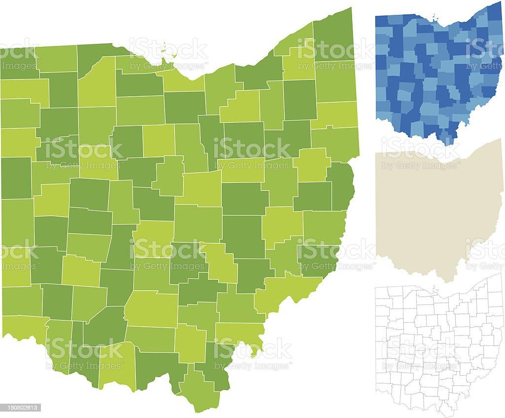 Ohio County Map vector art illustration