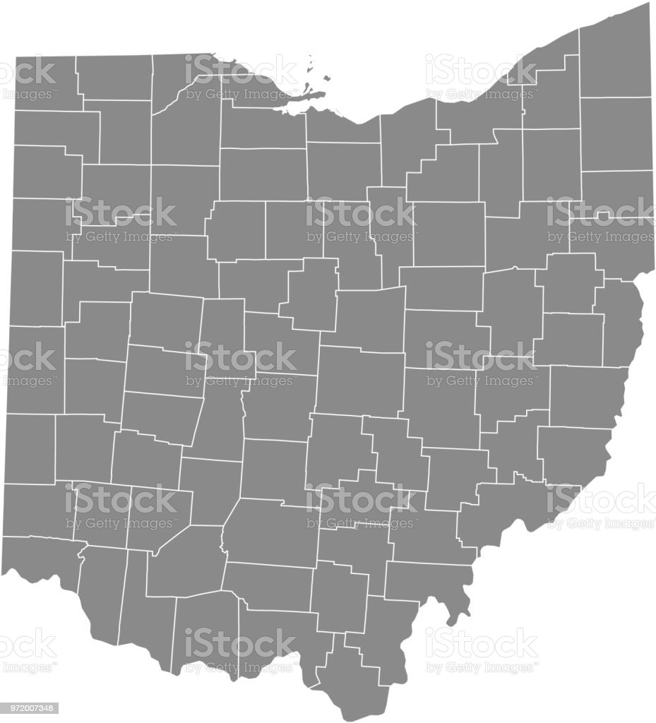 Ohio County Map Vector Outline Gray Background Map Of Ohio State Of ...