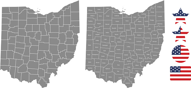 How To Use Remote Start >> Ohio County Map Vector Outline In Gray Background Ohio State Of Usa Map With Counties Names ...