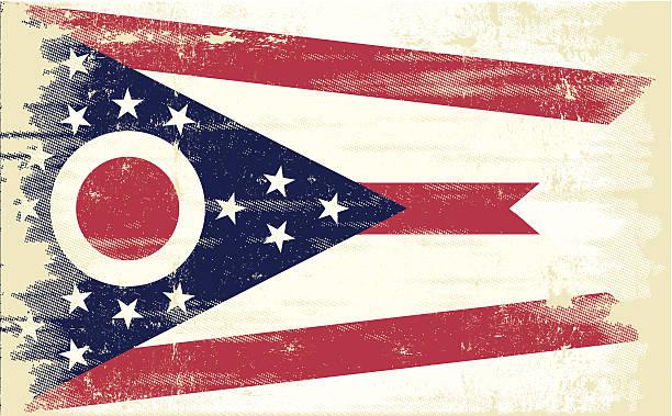 ilustrações, clipart, desenhos animados e ícones de bandeira do grunge de ohio - texturas desgastadas