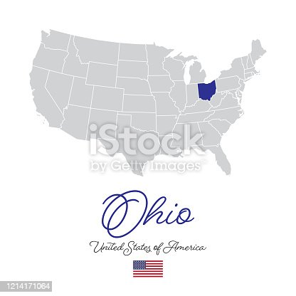 Ohio in the USA Vector Map Illustration