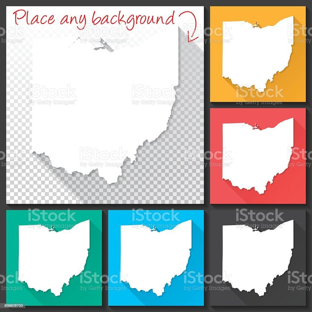 Ohio Map for design, Long Shadow, Flat Design vector art illustration