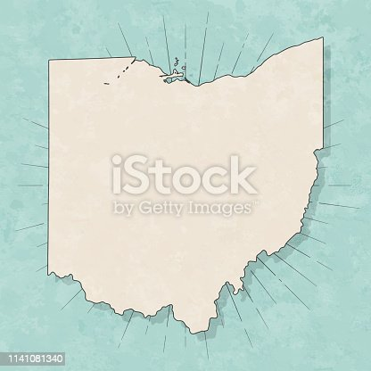 Map of Ohio in a trendy vintage style. Beautiful retro illustration with old textured paper and light rays in the background (colors used: blue, green, beige and black for the outline). Vector Illustration (EPS10, well layered and grouped). Easy to edit, manipulate, resize or colorize.