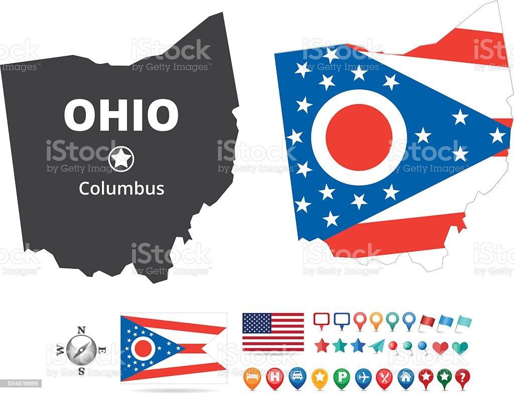 Ohio Map Kit vector art illustration