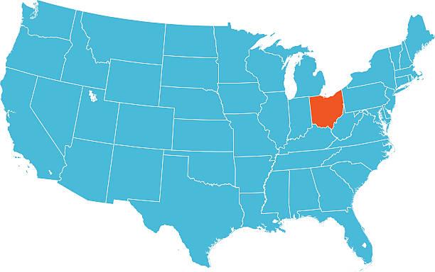 Ohio mapy – artystyczna grafika wektorowa