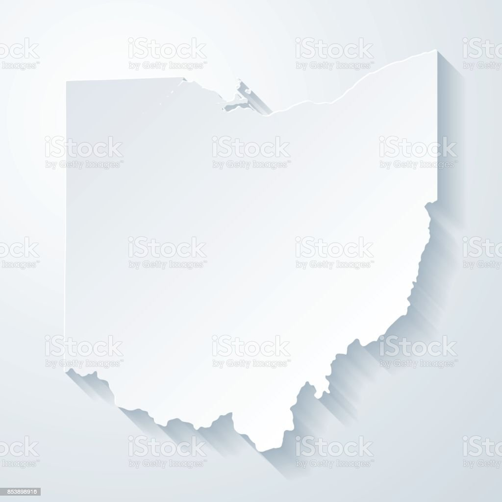 Ohio map with paper cut effect on blank background vector art illustration
