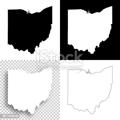 Map of Ohio for your own design. With space for your text and your background. Four maps included in the bundle: - One black map on a white background. - One blank map on a black background. - One white map with shadow on a blank background (for easy change background or texture). - One blank map with only a thin black outline (in a line art style). The layers are named to facilitate your customization. Vector Illustration (EPS10, well layered and grouped). Easy to edit, manipulate, resize or colorize. Please do not hesitate to contact me if you have any questions, or need to customise the illustration. http://www.istockphoto.com/portfolio/bgblue