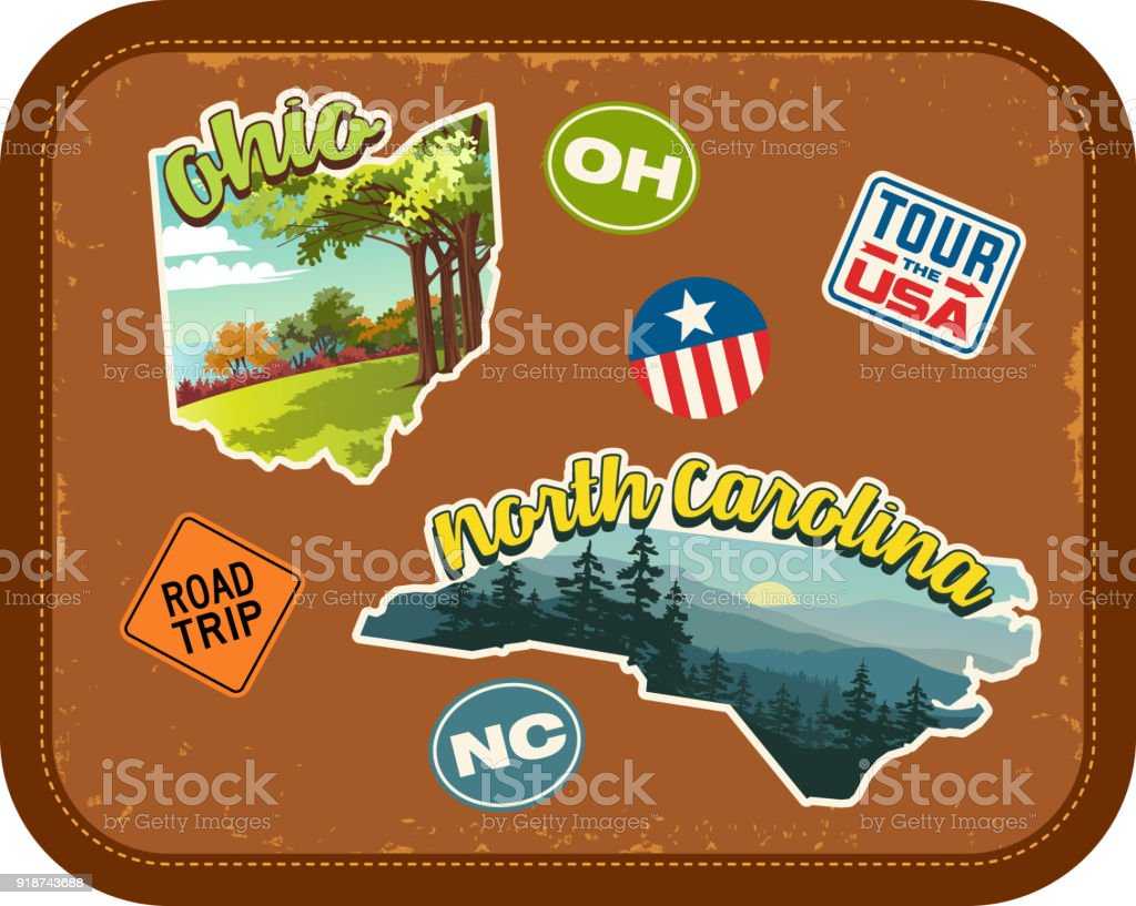 Ohio, North Carolina travel stickers with scenic attractions and retro text on vintage suitcase background vector art illustration