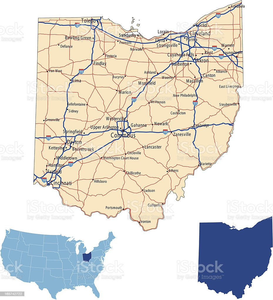Ohio Road Map Stock Vector Art IStock - Ohio roadmap