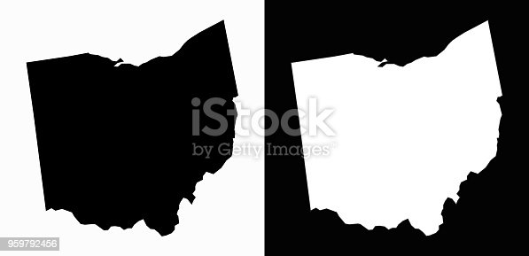 Ohio State Black and White Simple Map. This 100% royalty free vector illustration includes two variation of this state. Simple black shape of the state on white background and the inverse white shape of the state on black background.