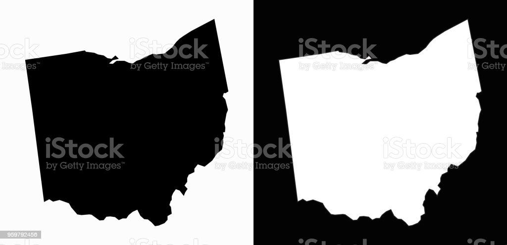 Ohio State Black and White Simple Map vector art illustration