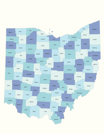 Detailed state-county map of Ohio. This file is part of a series of state/county maps.  Each file is constructed using multiple layers including county borders, county names, and a highly detailed state silhouette. Each file is fully customizable with the ability to change the color of individual counties to suit your needs.  Zip contains both .AI_CS2 and .ESP_8.0 as well as a large JPEG file.  Map generated using data from the public domain.  (http://www.census.gov/geo/www/tiger/) Traced using Adobe Illustrator CS2 on 7/28/2006. 3 data layers.