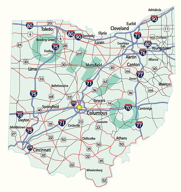 Ohio State Interstate Map vector art illustration