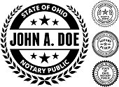 Ohio State Notary Public Black and White Seal. This image features a state notary seal on a round sticker design with a laurel around it. The image is a black and white vector illustration. It's placed against a white background. There are three more alternative designs of the seal on the right of the image. This royalty free vector illustration is ideal for legal industry concepts.