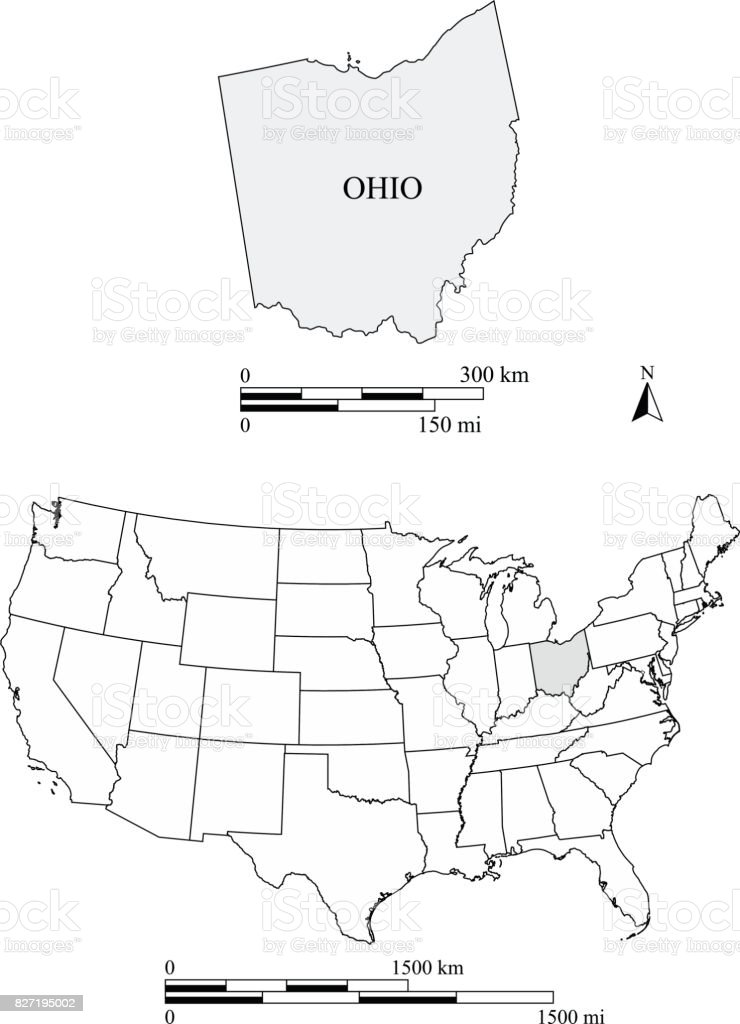 Ohio State Of Us Map Vector Outlines With Scales Of Miles And - Us map of ohio