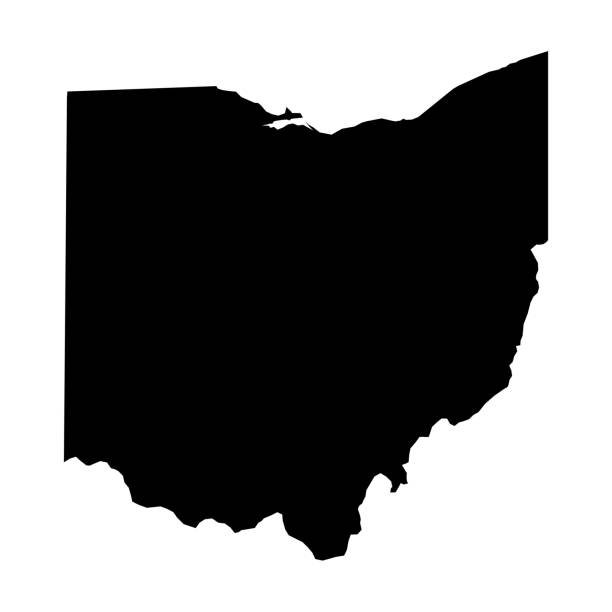 Ohio, state of USA - solid black silhouette map of country area. Simple flat vector illustration Ohio, state of USA - solid black silhouette map of country area. Simple flat vector illustration. 一本道 stock illustrations