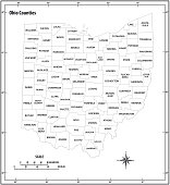 ohio state outline administrative and political map in black and white