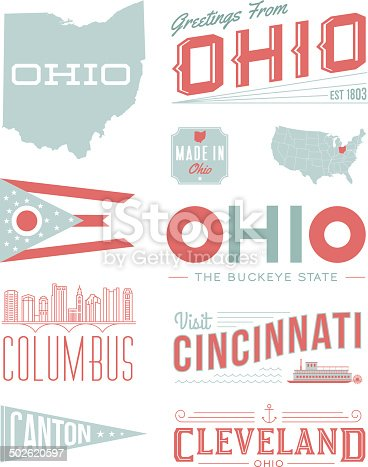 A set of vintage-style icons and typography representing the state of Ohio, including Columbus, Canton, Cincinnati and Cleveland. Each items is on a separate layer. Includes a layered Photoshop document. Ideal for both print and web elements.