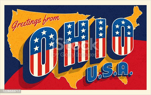 Greetings from Ohio USA. Retro style postcard with patriotic stars and stripes lettering and United States map in the background. For 4th of July or Memorial Day travel. Vector illustration.