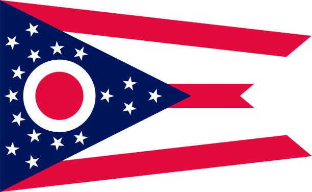 ilustrações, clipart, desenhos animados e ícones de vector bandeira de ohio. ilustração. estados unidos da américa - bandeira union jack