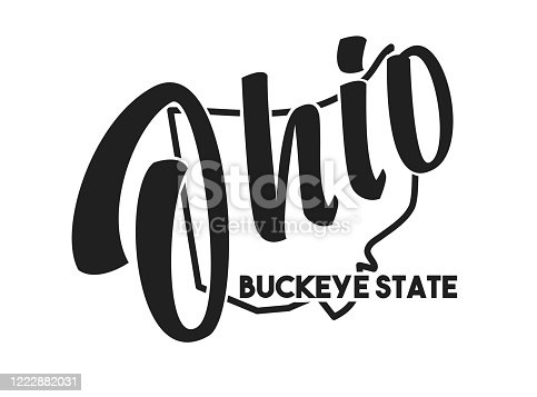 Ohio vector silhouette. Nickname inscription Buckeye State. Image for US poster, banner, print, decor, United States of America card. Hand-drawn illustration map of the USA territory