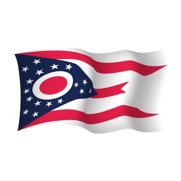ilustrações, clipart, desenhos animados e ícones de bandeira de ondulação do vetor de ohio. ilustração do vetor. estados unidos da américa. - bandeira union jack