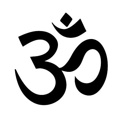 Ohm symbol isolated on white background. Vector illustration with hindu symbol.