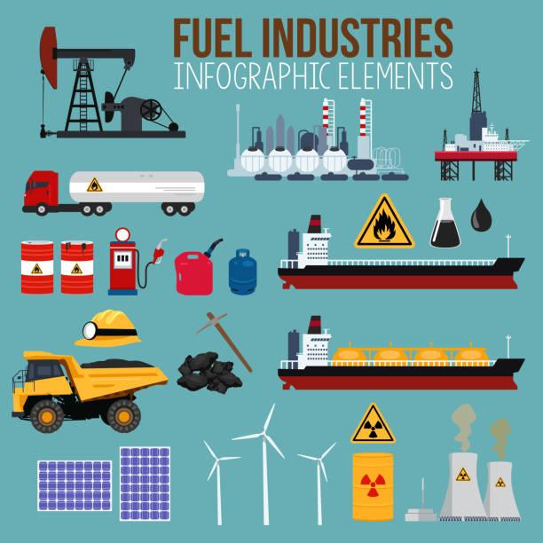 petrol ve yakıt sanayi infographics elementleri - kule stock illustrations