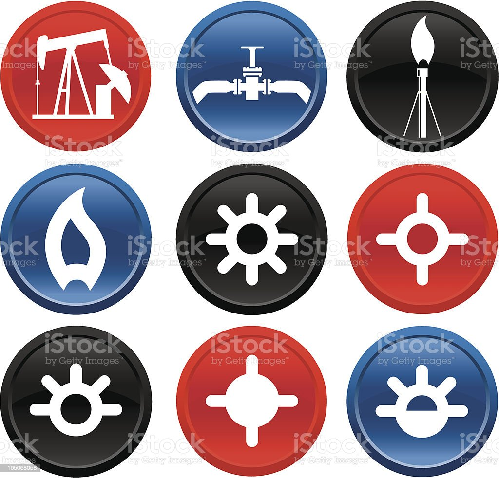 Oil and Gas Icons on Buttons Series Two royalty-free oil and gas icons on buttons series two stock vector art & more images of blue