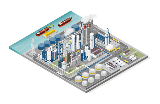 Oil and gas industry and production process infographic vector art illustration