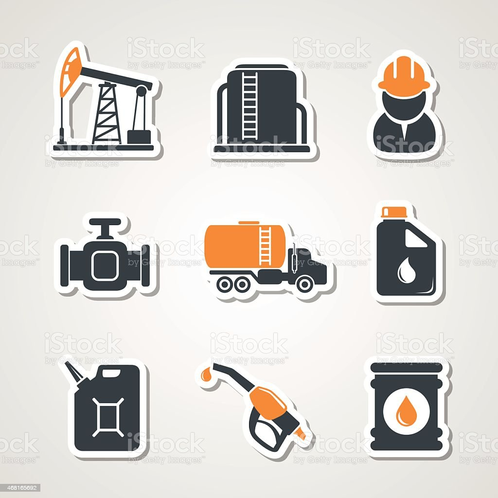 Oil and gas industry icons set vector art illustration