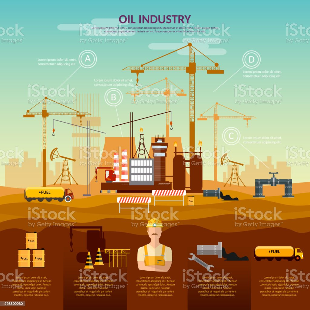 Oil And Gas Industry Infographics Construction Of Oil ...