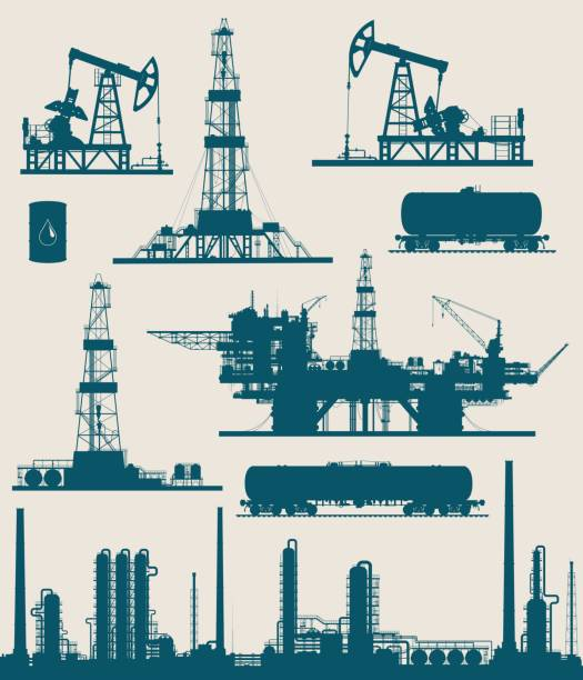 petrol ve gaz endüstrisi seti - kule stock illustrations