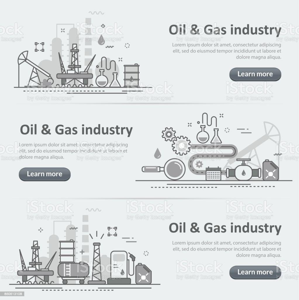 Petróleo y gas industria proceso Web banner cabecera conjunto de producción - ilustración de arte vectorial