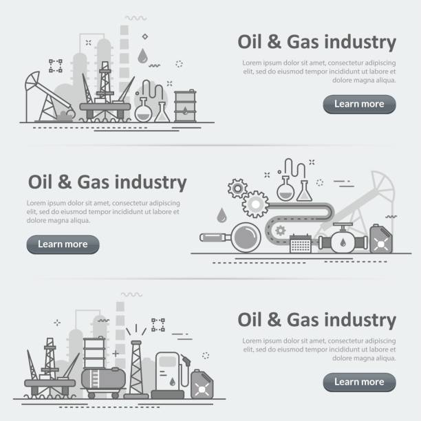 Oil and gas production industry process website banner header set Flat line vector design concept banner templates set of oil and gas production industry process, petroleum product, extraction, valving for design header, post, website on gray paper background oil and gas stock illustrations