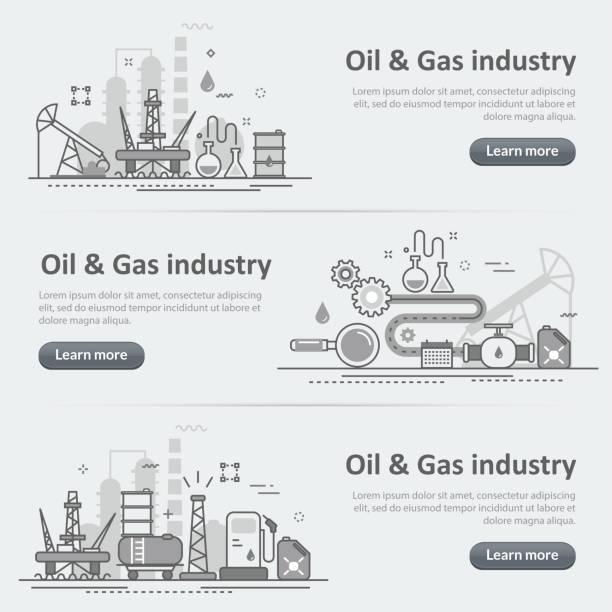 石油・ ガス生産産業プロセス ウェブサイト バナー ヘッダー セット ベクターアートイラスト