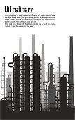 Oil and gas refinery or chemical plant silhouette isolated on white background. Vector illustration.